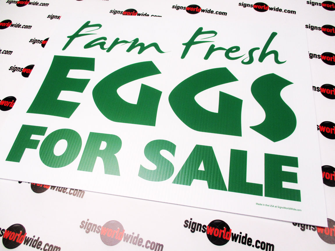Yard Sign - Coroplast - Eggs For Sale Green and White