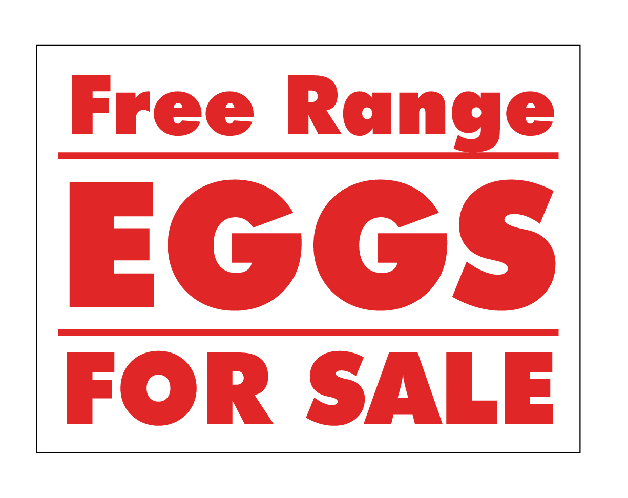 Free And For Sale >> Yard Sign Coroplast Free Range Eggs For Sale Red And White