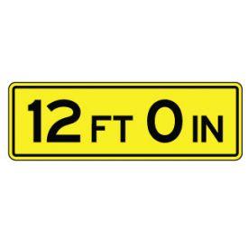 Twelve foot zero inch sign image