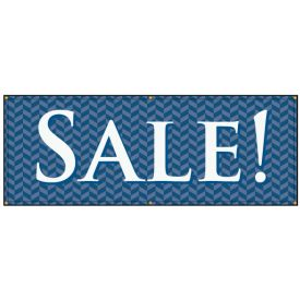Sale blue herringbone banner