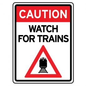 Caution watch for trains sign image