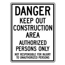 Danger Construction Area sign image