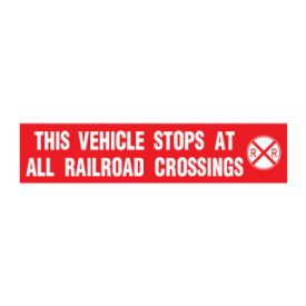 This Vehicle Stops at all Railroad Crossings decal image