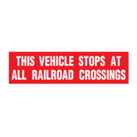 This Vehicle Stops at RR crossings decal image