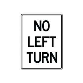 No Left Turn sign image