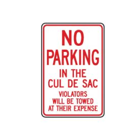 No Parking Cul De Sac sign image