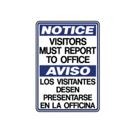 Notice visitors must report to office sign image
