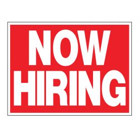 Now Hiring plastic sign image