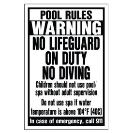 Pool Rules sign image