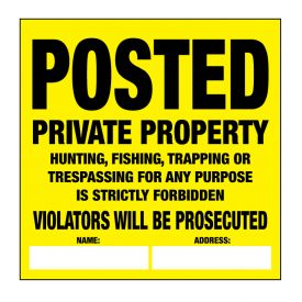 Posted private property plastic sign image