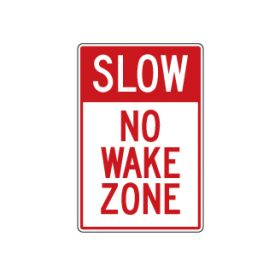 Slow no wake zone sign image