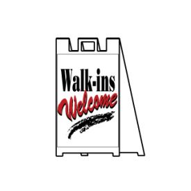 Walk-ins welcome sign image
