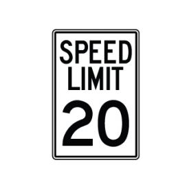 Speed Limit 20 MPH sign image