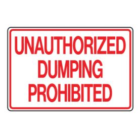Unauthorized dumping prohibited sign image