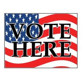 Vote Here flag sign image