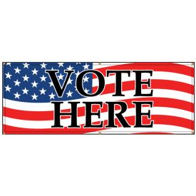 Vote Here American Flag banner image