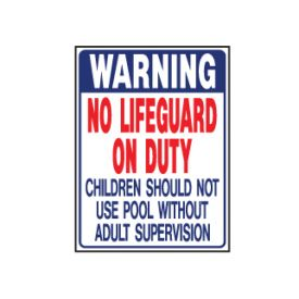 Warning no lifeguard sign image