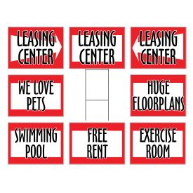 Red apartment signs image