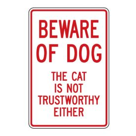 Beware of Dog and Cat sign image