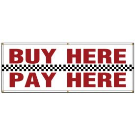 "Banner ""Buy Here Pay Here"" sign image"