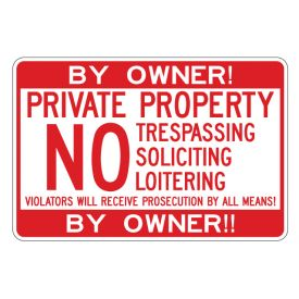 By Owner Private Property 12x18 sign image