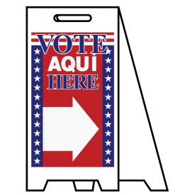 Coro A-frame Vote Aqui Here directional sign image