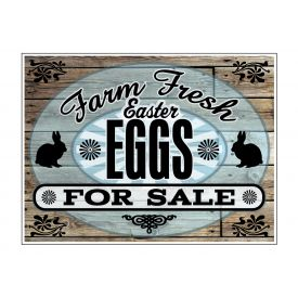 Farm Fresh Easter Eggs Wood Grain sign image