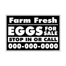 Farm Fresh Eggs B&W phone number 12x18 sign image