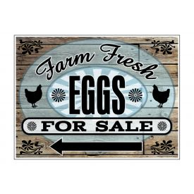 Farm Fresh EggsWood Grain Lft Arw sign image