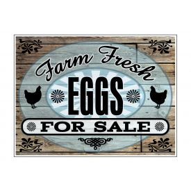 Farm Fresh EggsWood Grain sign image
