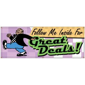 Follow Me Inside Great Deals Retro banner image