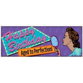 Happy Birthday Aged Perfection Retro banner image