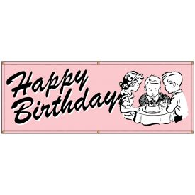 Happy Birthday Pink Retro banner image