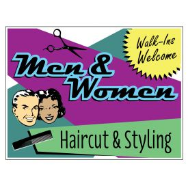 Mens & Women Haircut sign image