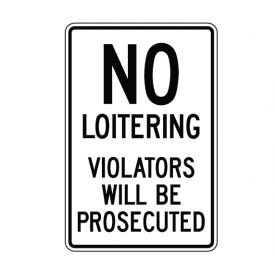 No Loitering sign image