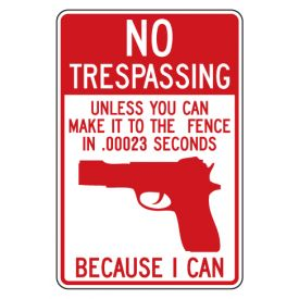 No Trespassing Gun sign image