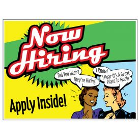 Now Hiring retro yard sign image