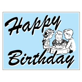 Pale Blue Happy Birthday sign image