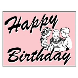 Pink Happy Birthday sign image