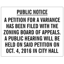 Public Notice Variance Sign image