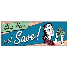 Shop Here and Save Retro banner image