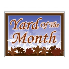 Yard of the Month leaves sign image