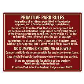 Cumberland Ridge Park Rules Sign Image