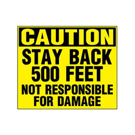 Caution Stay Back 500 Feet decal image