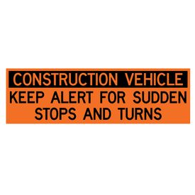 Construction Vehicle Sudden Stops 18x60 decal image