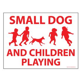 Small Dog and Children Playing sign image
