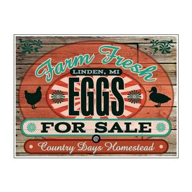 "Farm Fresh Eggs Country Days Wood Grain 18"" x 24"" sign image"