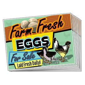 Ten Farm Fresh Eggs Retro Signs Image
