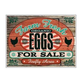 "Farm Fresh Organic Eggs Wood Grain 18"" x 24"" sign image"