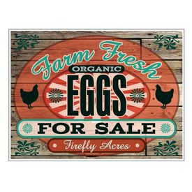Farm Fresh Organic Eggs Wood Grain 24x32 sign image